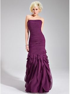 Trumpet/Mermaid Strapless Floor-Length Chiffon Evening Dress With Ruffle (017019556) - JJsHouse