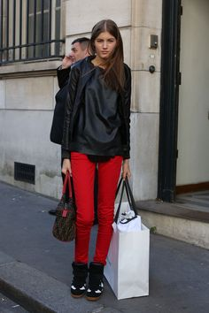 red jeans @Natalie Akilian