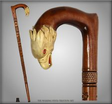 TOP ART AMAZING CARVED CRAFTER WOODEN WALKING STICK CANE STAFF HAWK 35, 36, 37""