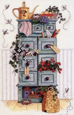 Brilliant Cross Stitch Embroidery Tips Ideas. Mesmerizing Cross Stitch Embroidery Tips Ideas. Cross Stitching, Cross Stitch Embroidery, Cross Stitch Patterns, Cross Stitch Kitchen, Country Art, Kitchen Country, Country Style, Country Cupboard, Country Paintings