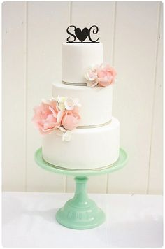 Wedding Cake Topper Monogram with Heart Cake by ThePinkOwlGifts, $30.00