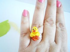 Easter Chick Ring  Polymer Clay Rings  Colorful Jewelry
