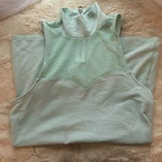 Express High Neck Tank Top - Mint Green NWOT, never worn, perfect condition. Beautiful mint green color with a mesh accent high up on the neck. Express Tops Tank Tops