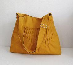 Sale  Mustard Canvas Lines Shoulder bag Diaper bag by tippythai
