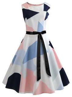 Vintage A Line Geometric Fit and Flare Ball Gown Boat Neck Sleeveless Natural Multicolor Midi Length Color Block Belted Flare Dress Ladies Day Dresses, Summer Dresses For Women, Vintage Prom, Vintage Dresses, 1950s Dresses, Retro Vintage, Rockabilly Dresses, Vestidos Chiffon, Cute Dresses