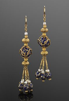 Yellow Gold Blue Enamel Ball and Pearl Drop Tassel Earrings, circa 1820