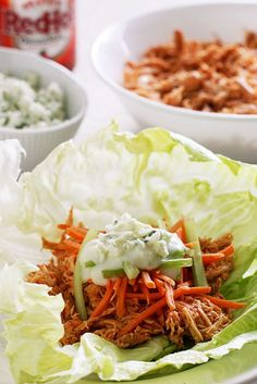 77 Healthy Crock-Pot Recipes: Buffalo Chicken Lettuce Wraps #healthy # ...