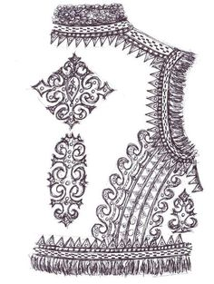 Drawing of the back of a traditional 'keptar', or sheepskin vest, of the style worn in the Carpathian Mountain villages of Roztoky and Kosiv, from the ethnographic Hutsul region of Carpathian Western Ukraine (Drawn by Dave Melnychuk) Embroidery Dress, Embroidery Patterns, Hand Embroidery, Sewing Patterns, Ancient Greek Costumes, Hippy Fashion, Gold Work, Bulgarian, Embroidery Techniques