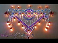 Beautiful Pink & Blue Rangoli Designs with colours - Easy and Simple Rangoli Kolam by Maya! - YouTube