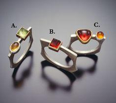3 Gemstone Edger Rings-all Sterling SilverA. Peridot in 14k bezel & Citrine  B. Garnet in 14K bezelC. Garnet in 18K bezel & Citrine