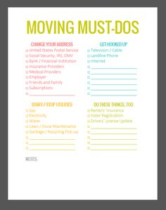 The Lovely Side: 5 Important Must-Do's Before You Move (Plus a Free Downloadable To-Do List!)