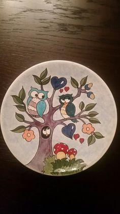 Çini teknigi ile baykuslu tabak - plate