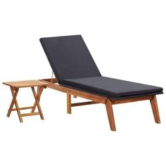 vidaXL Sun Lounger with Table Poly Rattan and Solid Acacia Wood Rattan, Fire Pit With Rocks, Wood Prices, Chair And Ottoman Set, Table Dimensions, Acacia Wood, Outdoor Furniture, Outdoor Decor, Chaise Longue