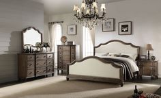 Acme Furniture Baudouin Collection 5 PC Bedroom Set with Queen Size Bed, Dresser, Mirror, Chest and Nightstand in Weathered Oak Finish Master Bedroom Set, King Bedroom Sets, Queen Bedroom, Modern Bedroom, Carefree Homes, King Size Bedroom Furniture, King Furniture, Best Murphy Bed, Acme Furniture