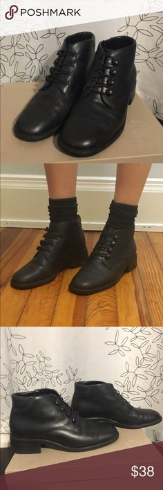Vintage Leather Ankle Boots Vintage soft black leather Croft & Barrow ankle boots with unique elastic band closure in front. The bands fasten around the buttons. Super cute and different! Comfortable and true to size.   ***   ***   ***   ***   *** • NO SWAPS • Please message me with any and all inquiries • MAKE ME AN OFFER! Please no lowballing.  • Discounts on bundles! • Smoke-free house • No returns  :) croft & barrow Shoes Ankle Boots & Booties