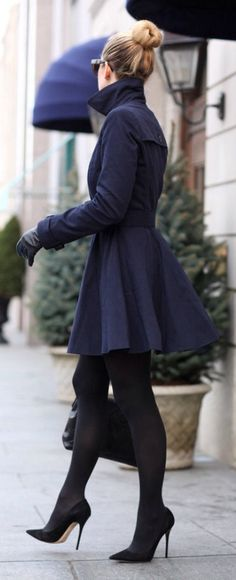City Fashion & Style ❤ trench + tights + heels
