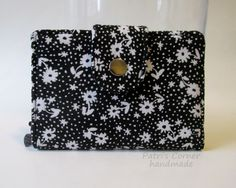 Handmade women wallet - small and slim - Black with small white floral and dots - red white and blue - ID clear pocket - ready to ship by PatrisCorner on Etsy