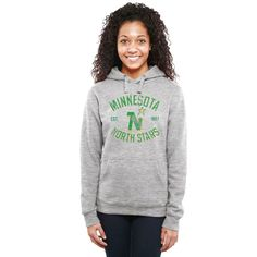 Minnesota North Stars Women's Heritage Pullover Hoodie - Ash - $54.99