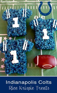 These Indianapolis Colts Rice Krispie Treats Team Jerseys are a fun dessert for a game day football party, an NFL playoff party, a Super Bowl party food or as a special snack for the Indianapolis Colts fans in your life.  For more fun Rice Krispie Treats ideas follow us at http://www.pinterest.com/2SistersCraft/