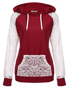 Buy Hoodie Women Top Lace Printed Long Sleeve Pocket Drawstring Sweatshirt - Red Wine - online, fidn many other Women's Hoodies & Sweatshirts Clothes 2018, Pullover Hoodie, Lace Print, Cool Hoodies, Lace Tops, Cute Outfits, Stylish Outfits, Clothes For Women, Ladies Clothes