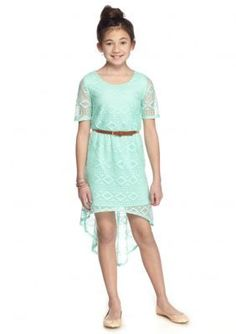 SEQUIN HEARTS girls  Tribal Lace High Low Belted Dress Girls 7-16