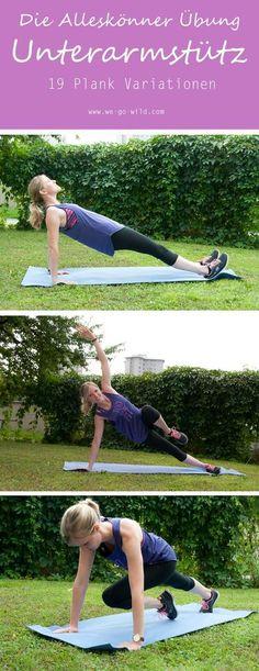 Plank Übungen für Frauen sind toll, denn damit hat man eine einfach erlernbare Ganzkörperübung. Hier gibts 10 Plank Variationen. Damit der Unterarmstütz auch nicht langweilig wird. Das Bauch Beine Po Training kann man überall durchführen, es kommt ohne Geräte aus. Du trainierst nur mit deinem eigenen Körpergewicht. #Bauchbeinepo #Training