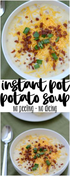 Easy Instant Pot Potato Soup - My FAVORITE recipe for fall weather! Instant Pot recipes dont get any easier! This easy Instant Pot potato soup uses frozen hash brown potatoes to help get cooking even quicker! Instant Pot Potato Soup Recipe, Best Potato Soup, Cheesy Potato Soup, Instant Potatoes, Instant Pot Dinner Recipes, Easy Soup Recipes, Crock Pot Potato Soup, Simple Potato Soup, Potato Soup Recipes