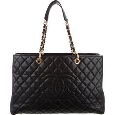 Pre-owned Chanel XL Grand Shopping Tote ($2,900) ❤ liked on Polyvore featuring bags, handbags, tote bags, black, leather handbag tote, chanel handbags, chanel tote, handbags totes and quilted tote bag