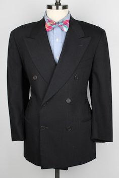 MANI Armani Black Modest Striped Double Breasted Wool Blend 42 S mens Suit #Mani #DoubleBreasted