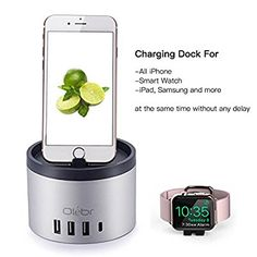 Apple Watch Charging Stand, Olebr 5-Port[4-USB & 1 Type C][Nightstand Mode] Charging Dock Station [ Aluminum ] with Phone Holder for iPhone 7/7 Plus,Charging Dock for iWatch Series 2/1/Nike+ Apple Watch Charging Stand, Thing 1, Docking Station, Phone Holder, Nightstand, Iphone 7, Usb, Watches, Type