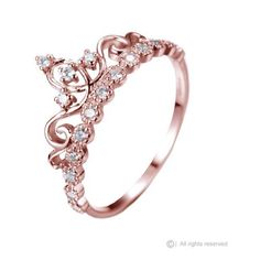 Dainty Rose Gold-plated Sterling Silver Princess Crown Ring: This beautiful dainty rose gold-plated sterling silver crown ring / princess ring resembles the woman who wears it. It is covered in 17 AAA cubic zirconia's, giving it an exquisite shine! Rose Gold Jewelry, Fine Jewelry, Unique Jewelry, Gold Jewellery, Jewellery Shops, Fashion Jewellery, Jewelry Stores, Dress Jewellery, Jewellery Bracelets
