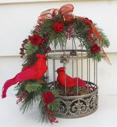 Christmas Flower Arrangement With Cardinals