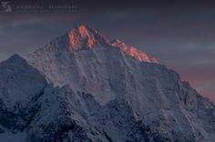 Burning top of Ľadový štít, Tatra Mountains, Slovakia
