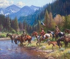 New Wealth for the Blackfeet by Martin Grelle ~ Native Americans on horseback