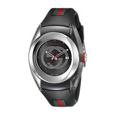 Gucci SYNC XXL Stainless Steel Watch with Black Rubber Bracelet. Swiss quartz movement with analog display. Water resistant to 50 m f). Army Watches, Sport Watches, Watches For Men, Nice Watches, Wrist Watches, Rolex Watches, Gucci Gold Watch, Fendi, Versace