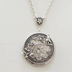 Cherry Blossom,Locket,Silver Locket,Antique Locket,Flower Locket,Flower,vintage locket,Wedding Necklace,bridesmaid necklace. $38.99, via Etsy.