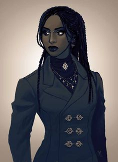 Akiva, skin color (hope that's grey), hair YES, nose bridge/ eyebrow piercing no, but so wonderful. Afro Goth by Maaria Laurinen. Black Girl Art, Black Women Art, Black Art, Art Girl, Black Characters, Female Characters, Story Characters, Fantasy Characters, Character Portraits