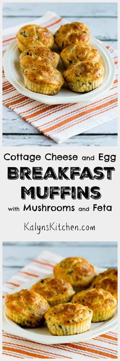 I never get tired of these high-protein Cottage Cheese and Egg Breakfast Muffins with Mushrooms and Feta Cheese. The muffins are low-carb, but do have a tiny amount of flour [found on KalynsKitchen.com]: