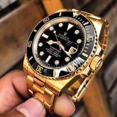 Rolex Submariner Gold, Gold Rolex, Rolex Gmt, Rolex Datejust, Rolex Watches For Men, Luxury Watches For Men, Cool Watches, Wrist Watches, Automatic Skeleton Watch