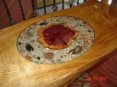 table inlaid with epoxy resin