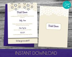 DiY Bridal Shower Template | INSTANT DOWNLOAD | EDITABLE Text | Blooming Flowers | Gold / Navy | Print at Home |  5x7 inches by ScriptAndLily on Etsy
