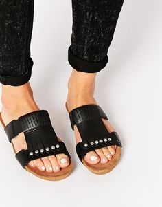 ASOS FINAL DAY Leather Fringed Mules