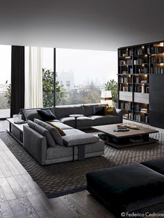 45 Awesome Modern Apartment Living Room Design Ideas 45 Awesome Modern Apartment Wohnzimmer Design-I Dark Living Rooms, Living Room Modern, Home Living Room, Apartment Living, Living Room Decor, Cozy Living, Small Living, Modern Couch, Bookshelf Living Room