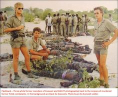 """These PLAN Guerillas were killed in combat by Koevoet, not """"murdered"""". Very stupid reporting. War Of Attrition, Brothers In Arms, Defence Force, Anglo Saxon, Guerrilla, Armed Forces, South Africa, The Past, Army"""