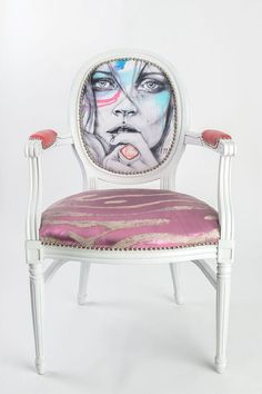 French Louis Xvi Dining Chair Armchair Painted White Lacquered Custom  Upholstery In Pink Hair On Hide