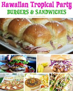 Hawaiian Tropical Party Recipes - Burgers and Sandwiches + lots more delicious recipes! Hawaiian Tropical Party Recipes - Burgers and Sandwiches + lots more delicious recipes! Luau Theme Party, Hawaiian Luau Party, Party Food Themes, Ideas Party, Hawaii Party Food, Food For Luau Party, Tiki Party, Parties Food, Luau Party Ideas For Kids