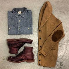 :: STYLE :: Casual Friday! Shawl cardigans are a must have this fall. Pair it with a denim shirt, denim pants and work boots for a rugged y...