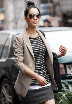 Damen Blazer modisches navy beige Blazer korean style, asia style azj2013-24 | eBay