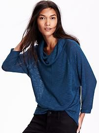 Funnel-Neck Sweater-Knit Top for Women