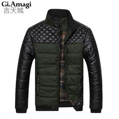 New 2015 PU leather Splice Slim stand Collar Winter Jacket Men Casual Parka Men padded Winter Jacket Casual Handsome Coat